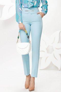 Pantaloni Fofy albastru-deschis eleganti conici cu talie inalta si buzunare