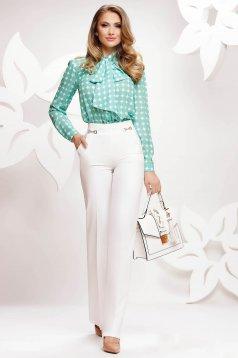 Pantaloni albi Fofy eleganti conici material subtire cu talie inalta