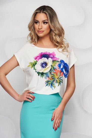 Bluza dama StarShinerS eleganta cu imprimeu floral din material subtire cu decolteu rotunjit