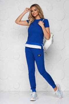 Blue sport 2 pieces casual cotton from two pieces with trousers