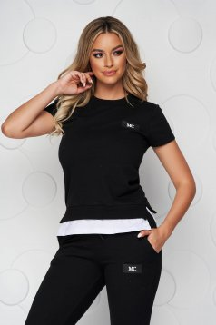 Black sport 2 pieces casual cotton from two pieces with trousers