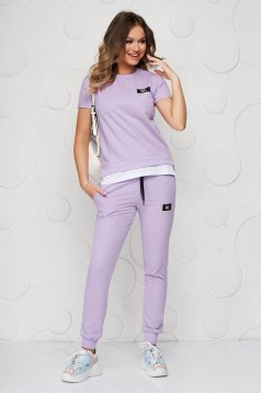 Lila sport 2 pieces casual cotton from two pieces with trousers