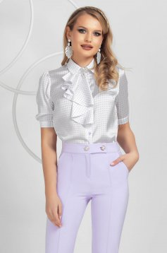 Ivory women`s shirt dots print from satin elegant accessorized with breastpin