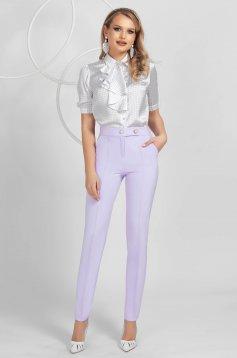 Pantaloni PrettyGirl lila conici din material usor elastic cu talie medie