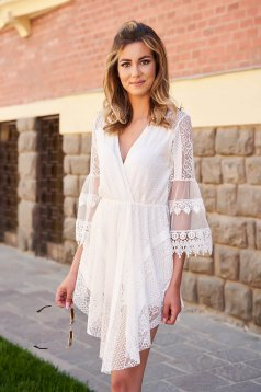 Ivory dress laced with v-neckline