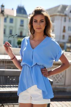 Lightblue women`s blouse loose fit asymmetrical airy fabric short sleeves