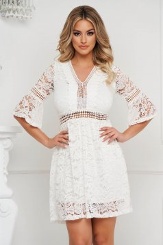 Ivory dress laced straight with v-neckline