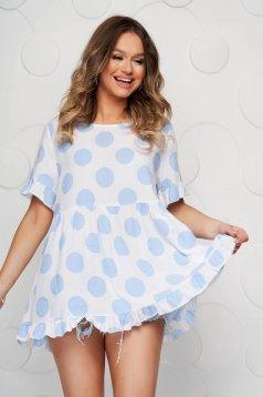 Bluza dama SunShine din material vaporos cu buline cu croi larg cu volanase