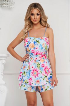 Dress with floral print thin fabric adjustable straps little bow at the back