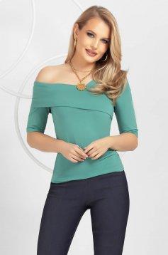 Bluza dama PrettyGirl verde mulata pe umar din tricot fin si elastic