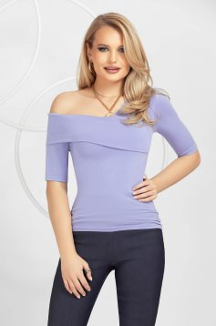 Lila women`s blouse tented one shoulder knitted
