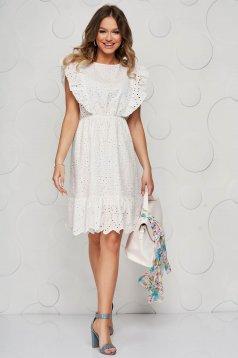 White dress guipure cloche with elastic waist short cut