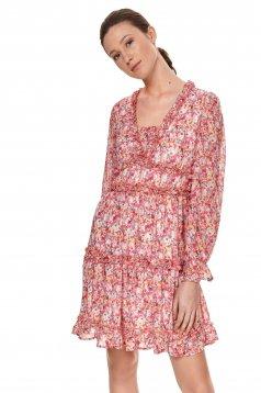 Rochie Top Secret rosie cu imprimeu floral cu croi larg cu decolteu in v cu volanase din material usor transparent