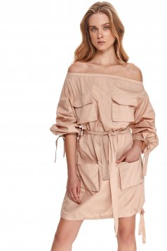 Peach dress on the shoulders loose fit accessorized with tied waistband cotton