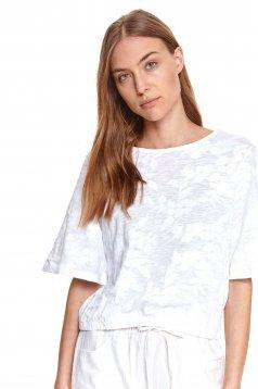 Bluza dama alba Top Secret cu croi larg din bumbac usor elastic cu imprimeu floral
