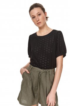 Black t-shirt loose fit with rounded cleavage with puffed sleeves fabric with embroided holes