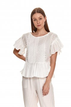 Ivory women`s blouse plumeti with ruffle details loose fit slightly transparent fabric