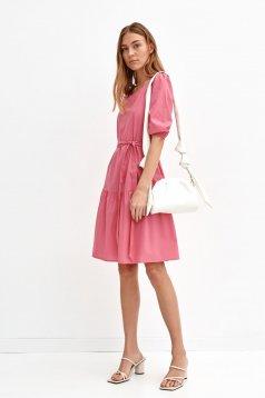 Pink dress cotton loose fit midi detachable cord