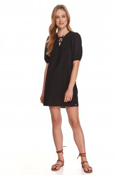 Black dress cotton with laced details with v-neckline loose fit