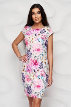 StarShinerS white dress with floral print office straight non-flexible thin fabric short cut