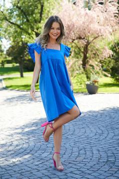 Rochie SunShine albastra din poplin cu croi larg cu volanase cu decolteu adanc patrat