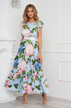 Lightblue dress with floral print cloche long with ruffle details