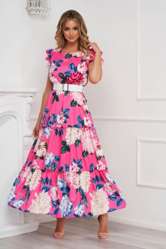 Pink dress with floral print cloche long with ruffle details