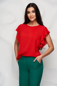 StarShinerS red women`s blouse elegant from veil fabric with ruffle details loose fit