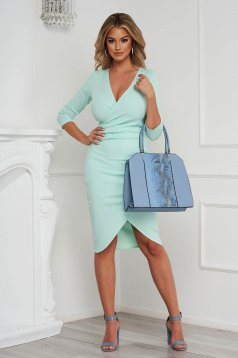 StarShinerS mint dress midi pencil with v-neckline wrap over front from elastic fabric