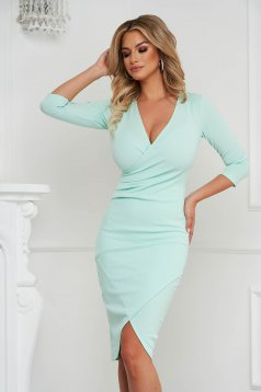 Rochie StarShinerS mint office midi tip creion din material elastic cu decolteu in v