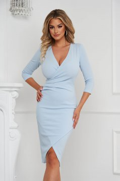 StarShinerS turquoise dress midi pencil with v-neckline wrap over front from elastic fabric