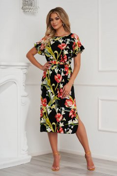 StarShinerS dress with floral print straight accessorized with tied waistband