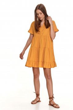 Yellow dress loose fit short cut cotton with ruffle details