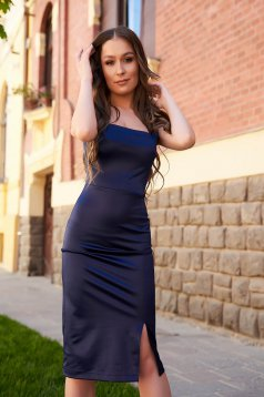 StarShinerS darkblue from satin dress pencil with deep cleavage midi