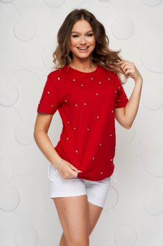 Tricou SunShine rosu din bumbac cu pietre strass cu croi larg
