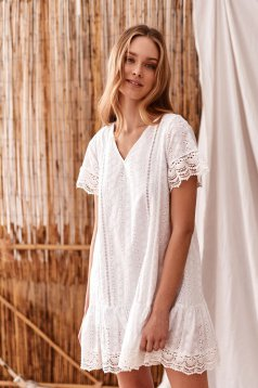 White dress casual short cut loose fit short sleeves guipure