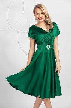 Green cloche wrap over front dress midi elegant