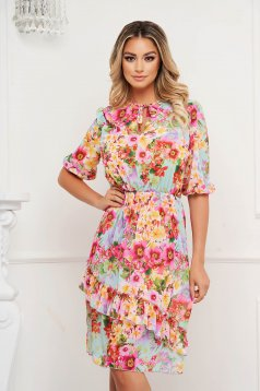StarShinerS dress cloche with elastic waist with floral print airy fabric