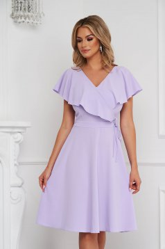StarShinerS lila dress short cut cloche frilly trim around cleavage line