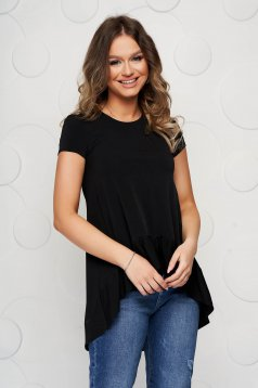 StarShinerS black women`s blouse asymmetrical loose fit thin fabric with ruffle details