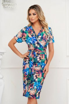 StarShinerS dress with floral print pencil short cut with v-neckline from elastic and fine fabric