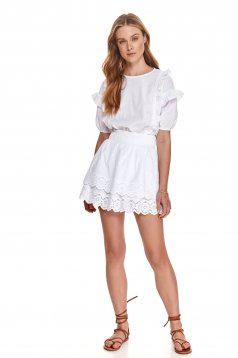 White skirt cloche with elastic waist casual