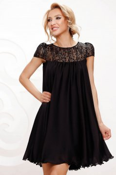 Black dress from veil fabric occasional with lace details with crystal embellished details loose fit