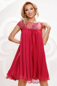 Fuchsia dress from veil fabric occasional with lace details with crystal embellished details loose fit