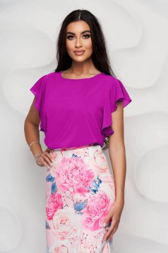 StarShinerS raspberry women`s blouse elegant from veil fabric with ruffle details loose fit