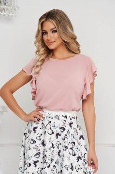 Bluza dama StarShinerS roz deschis eleganta cu croi larg cu volanase si decolteu rotunjit