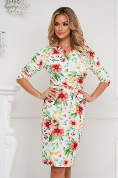 StarShinerS dress midi pencil wrap over front from elastic fabric office with floral print