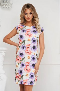 StarShinerS dress office short cut straight with floral print non-flexible thin fabric