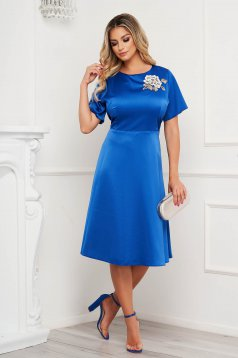 Blue dress a-line from satin fabric texture elegant