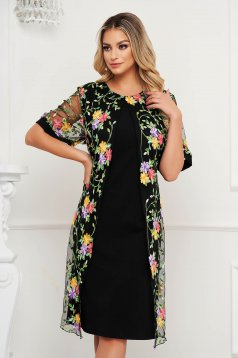 Dress elegant midi straight cloth thin fabric short sleeves